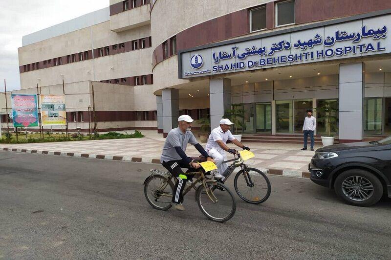 خبرنگاران رکاب زنی دوچرخه سواران از آستارا برای تکریم کادر درمانی کشور
